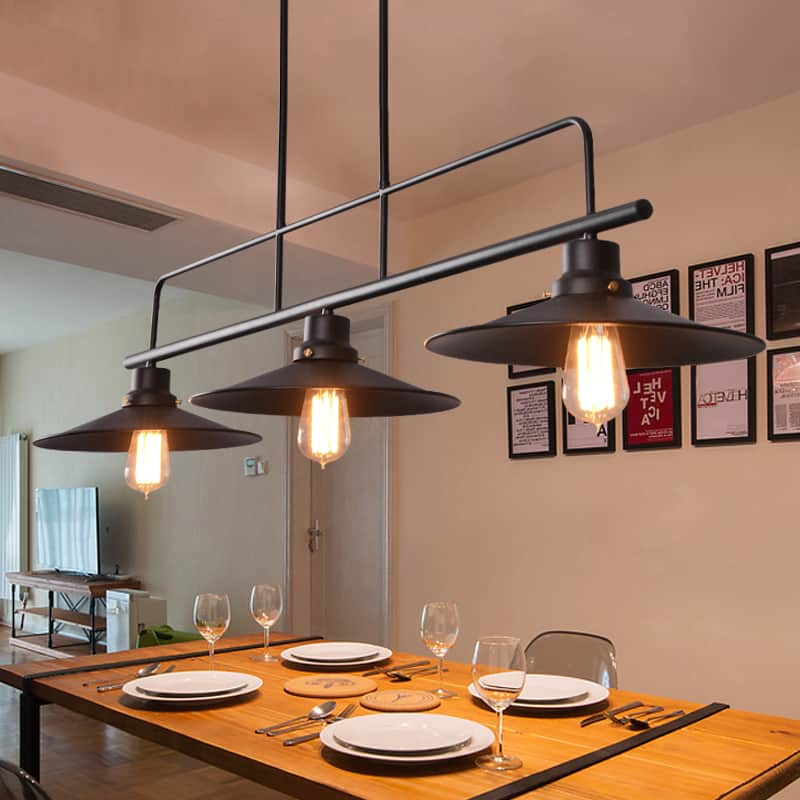 Kitchen Ceiling Lights Singapore: AMBROSE Tri Head Disk Shade Lamp