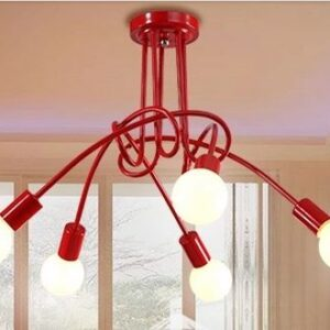 Kettil Customisable Spider Web Creative Lamp- red 5 bulbs
