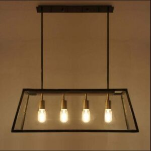 Kjell Glass Case Quadriplet Hanging Lamp - lights on