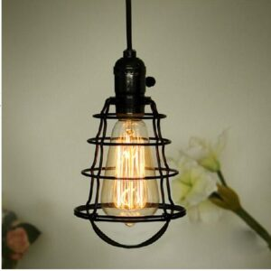 Spider Web Cage Single Bulb Hanging Light- Front