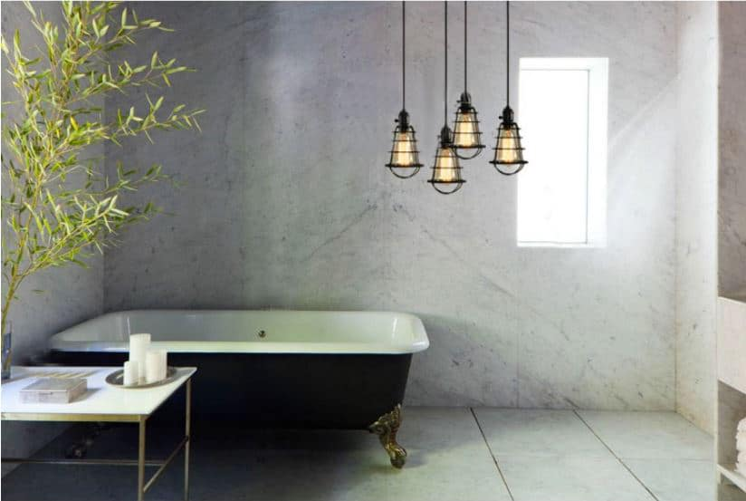 Spider Web Cage Single Bulb Hanging Light Bathroom