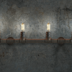 Indrustrial Rustic Pipe Line Quadriplet Lamps - front view