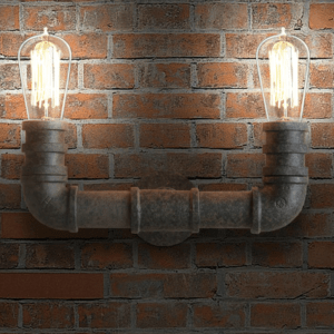 Indrustrial Rustic Pipe Line Twin Lamps - front