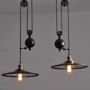 Twin Headed Disk Weighted Hanging Lamp - light on