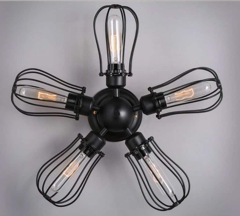 Lamp Fan: BARBRO Five Leaflet Uranium Ceiling Fan Lamp