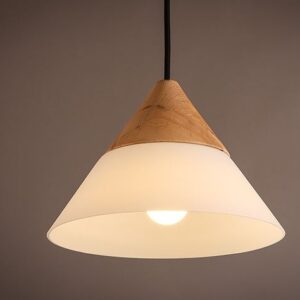 Half Wood Hang Lamp-lited