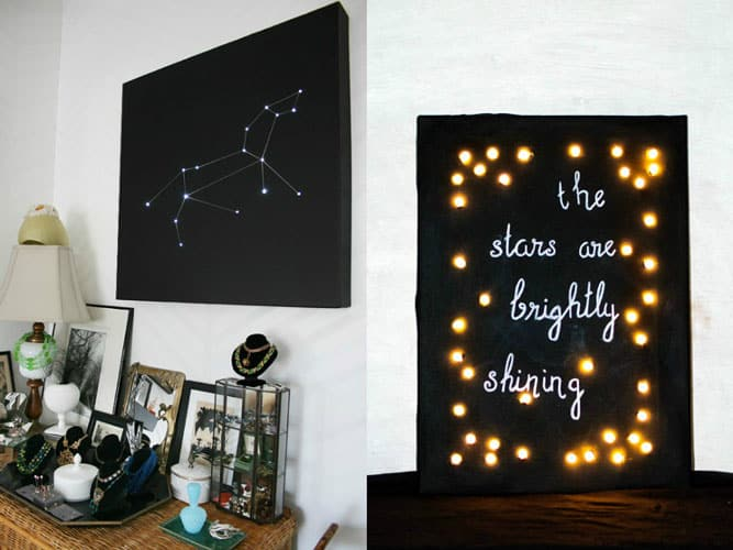 string-lights-canvas-collage & 10 Creative Ways To Use String Lights To Dress-up Your Space | Screed
