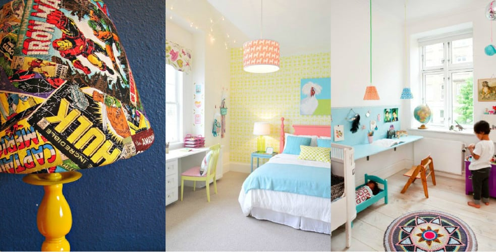 kids room lamp shade collage