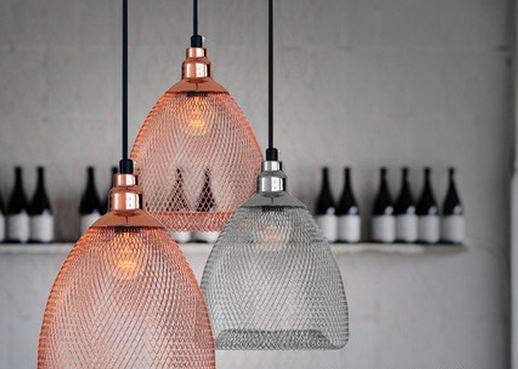 Vendela Chainmail Mesh Hanging Lamp, Copper Mesh Lamp Shade