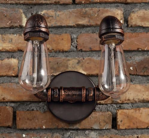 Overhanging Wall Lights : VIDAR Twin Head Wall Industrial Pipe Lamp
