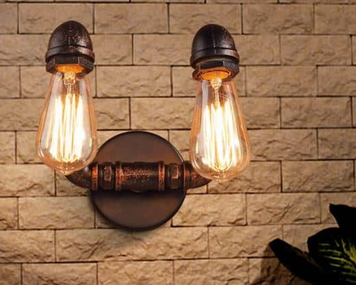 Overhanging Wall Lights : VIDAR Twin Head Wall Industrial Pipe Lamp