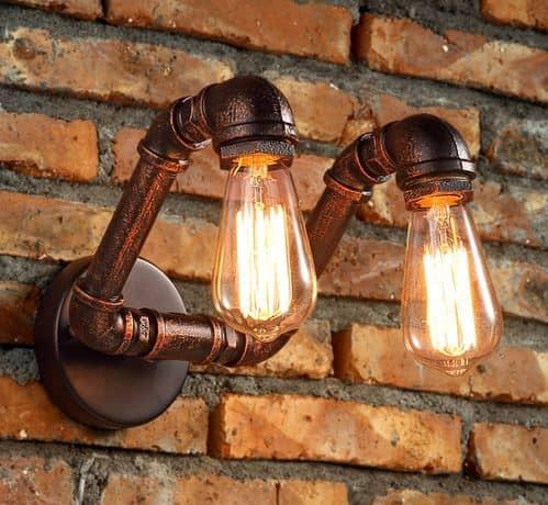 Vidar Twin Head Wall Industrial Pipe Lamp