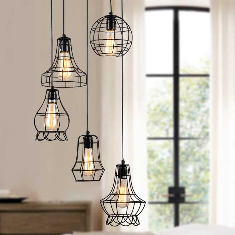 Klemon metal wire cage hanging lamp klemon wire cage pendant lights 2 mozeypictures Image collections