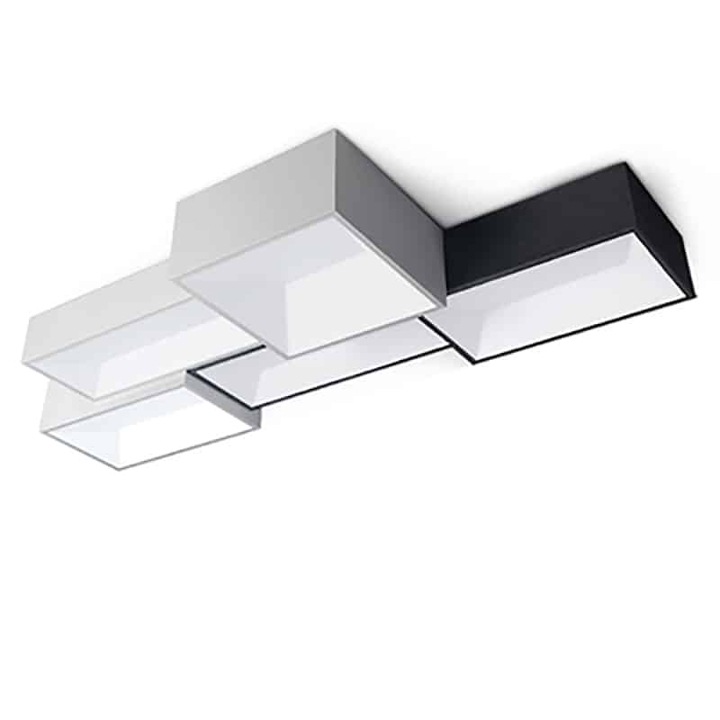 Kajsa personalized rectangle box ceiling lamp personalized rectangle ceiling lamp five black white lights mozeypictures Image collections