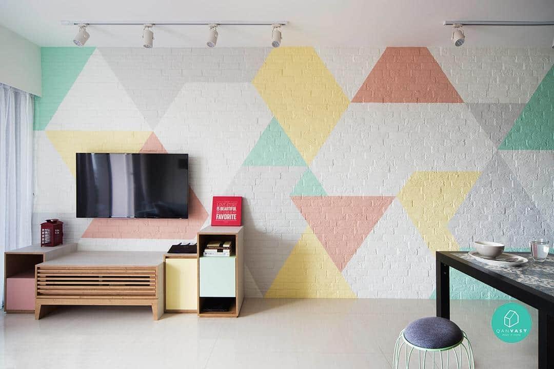geometric wall singapore interior design
