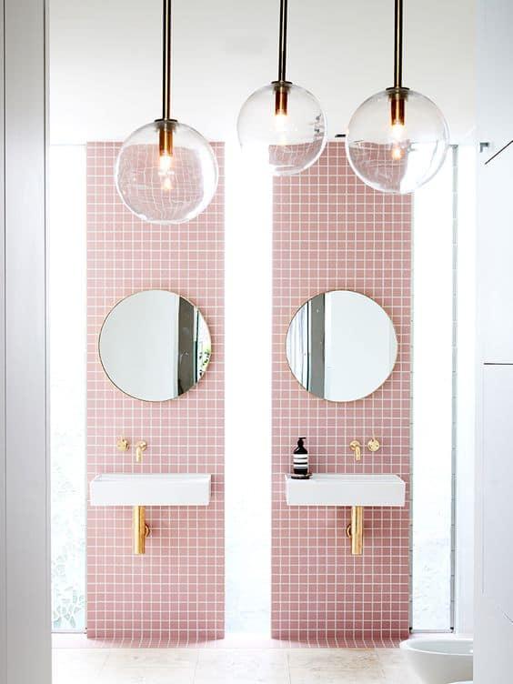 pink retro modern trendy bathroom
