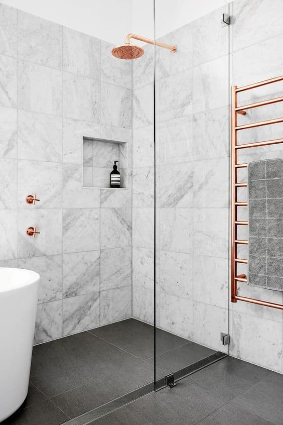 marble rose gold bathroom
