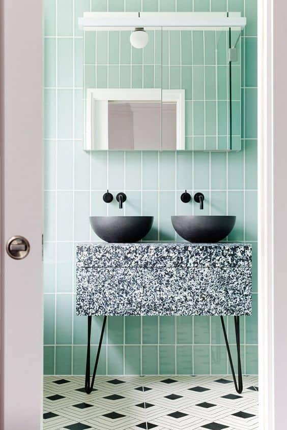 green tile bathroom retro modern