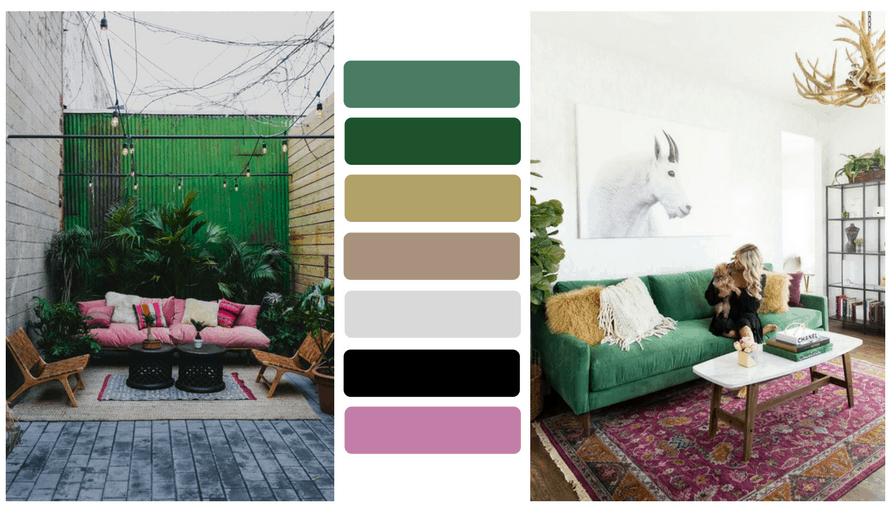 pink green outdoor interior design palette