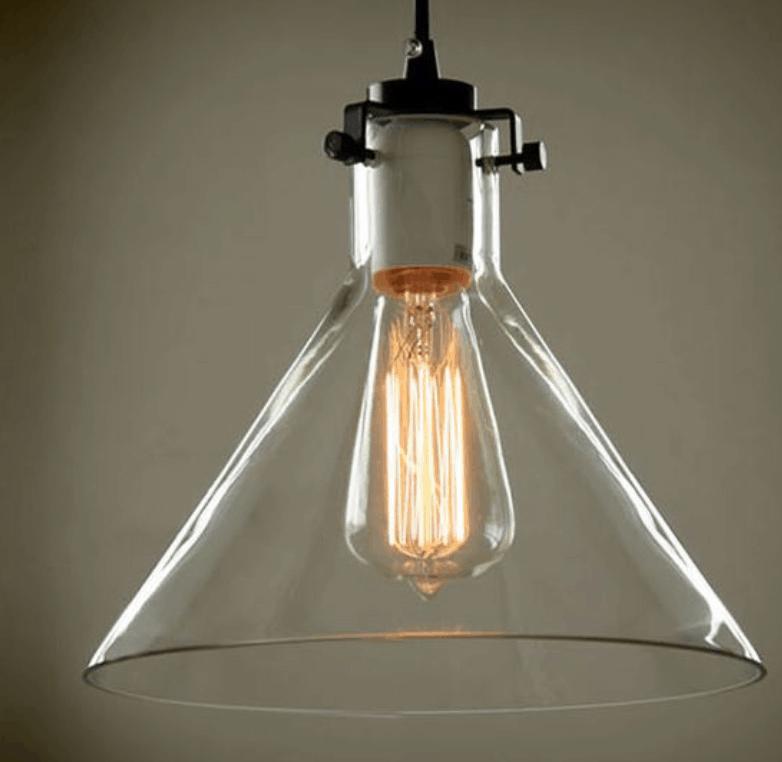 heidi transparent glass funnel lamp