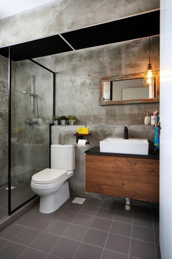 washed concrete small bathroom singapore