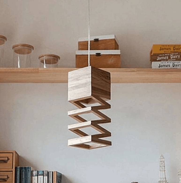 wooden pendant lamp stairs
