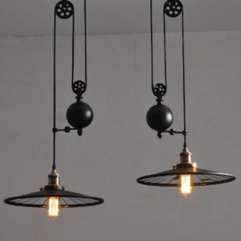Borghild twin headed disk hanging lamp