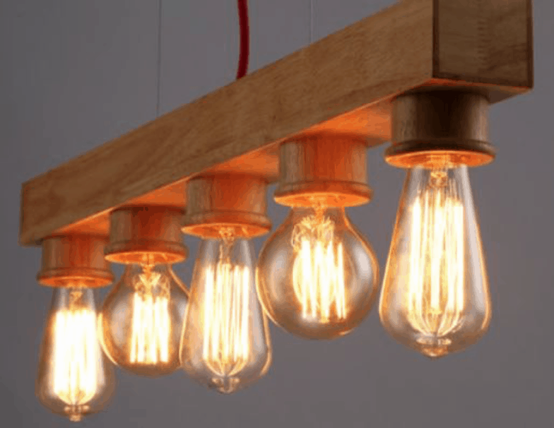 classic wooden bar 5 head lamp