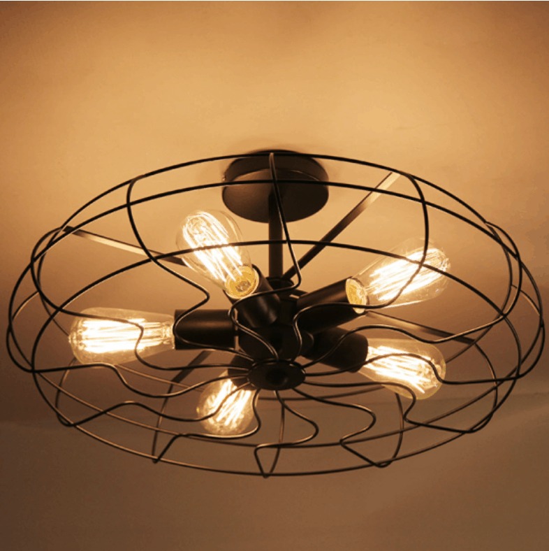 Lars Retro Caged Fan Lamp