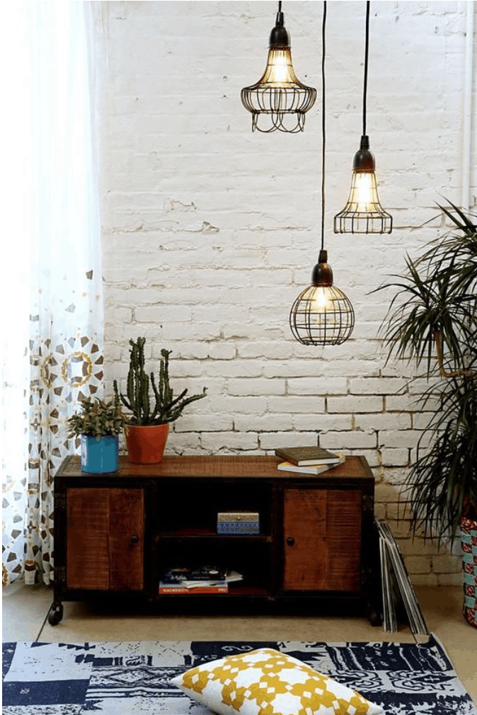 caged lamps retro house