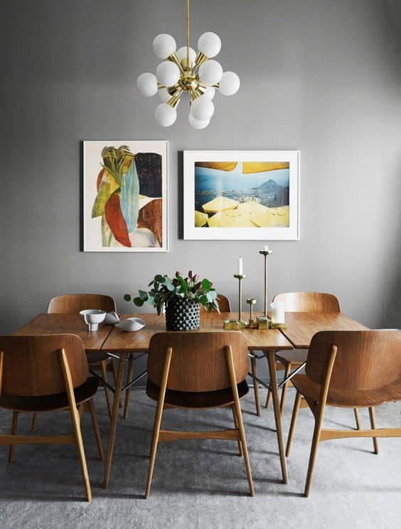 modern retro dining table orb gold ceiling lamp