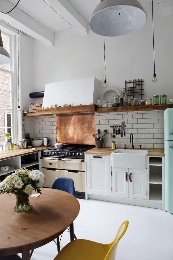 retro kitchen rustic kitchen edison bulbs