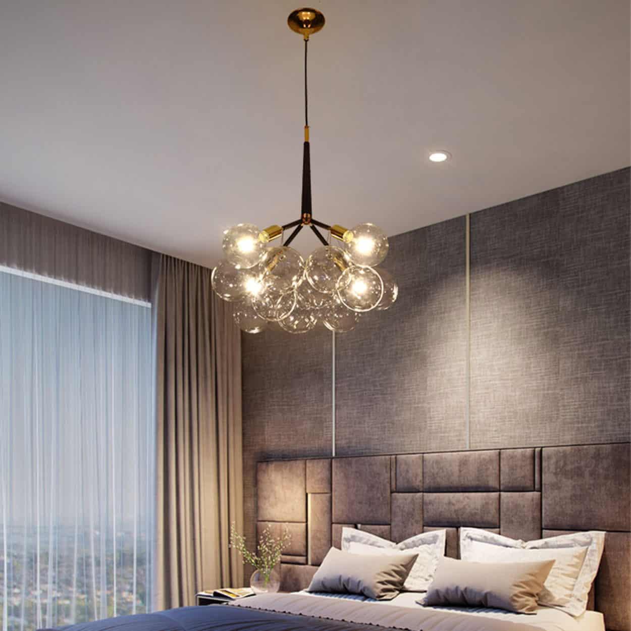 Doorana modern glass balls bubble chandelier lamp bedroom